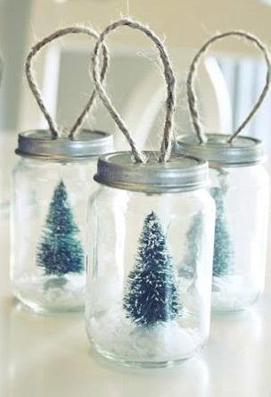 Recycled mason jar snow globe.