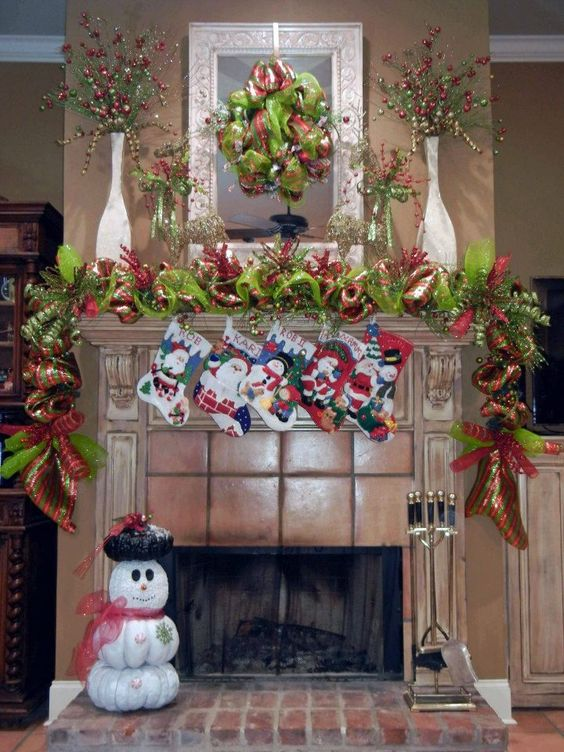 Red & green garland, wreath with DIY stockking.