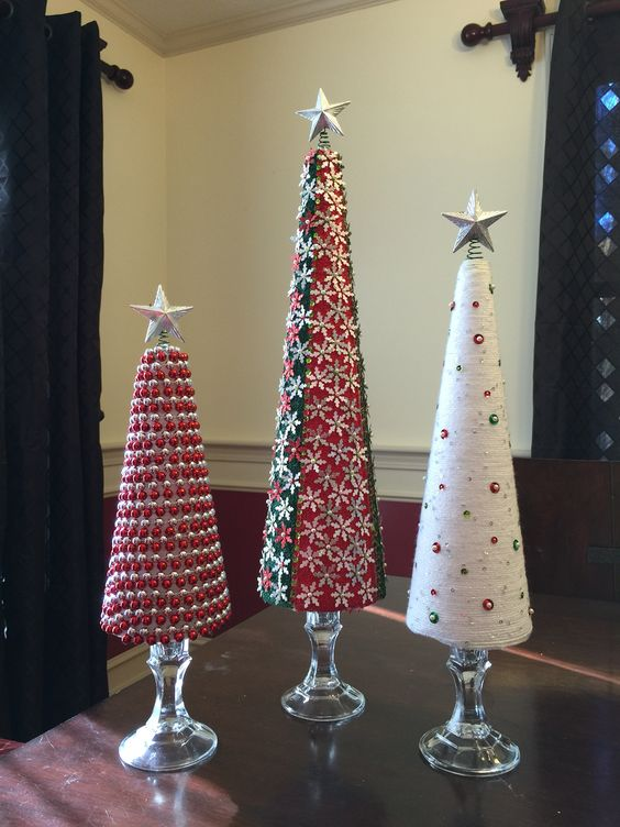 Red & white artificial Christmas trees.