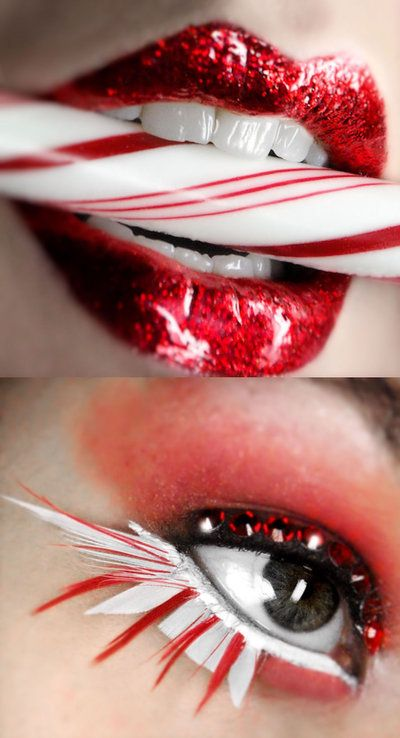 Red & white glossy party makeup.
