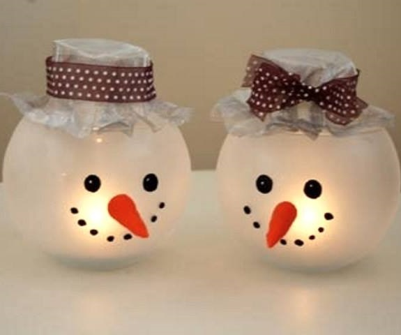 Round glass jar decorated as snowman.