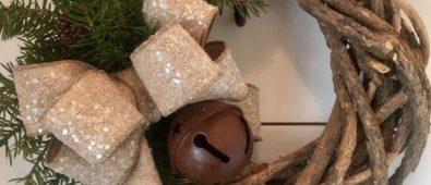 Rustic Christmas grapevine wreath.