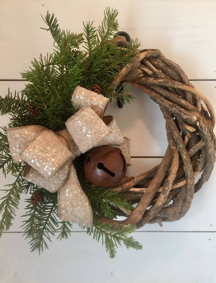 Rustic Christmas grapevine wreath.