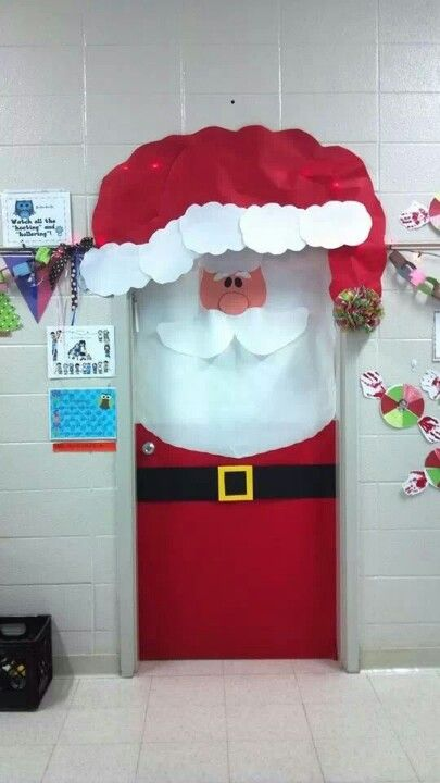 Santa on the classroom door for Christmas.