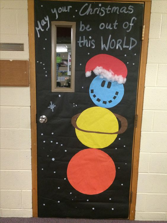 Science classroom decor at Christmas.