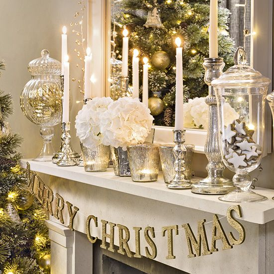 Silver and golden Christmas mantel decoration.