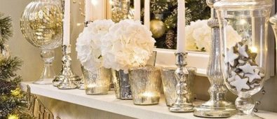 Silver and golden mantel decoration for Christmas.