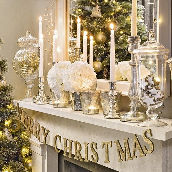 silver and golden mantel decoration for christmas