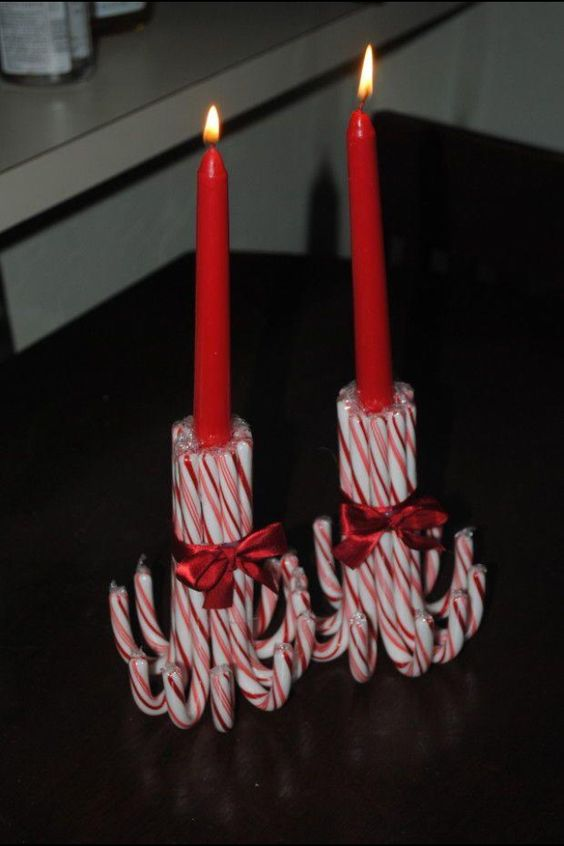 Simple candy cane candle holder.
