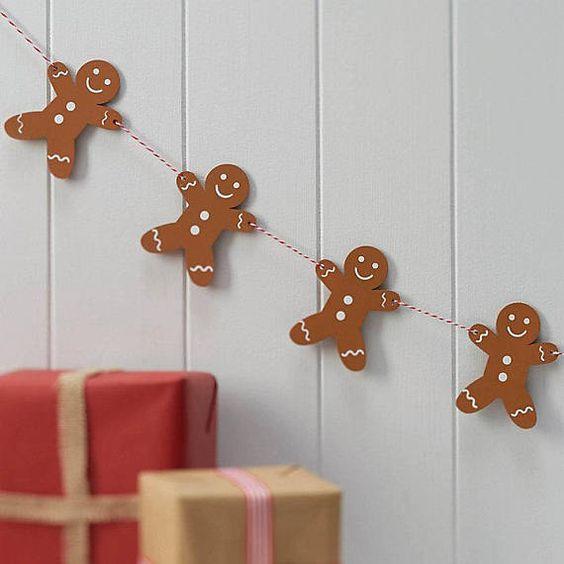 Simple gingerbread man garland.