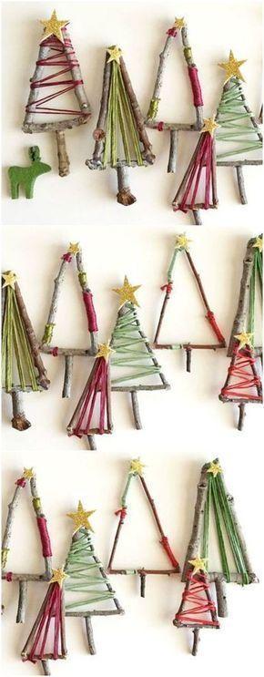 Small handmade Christmas trees.