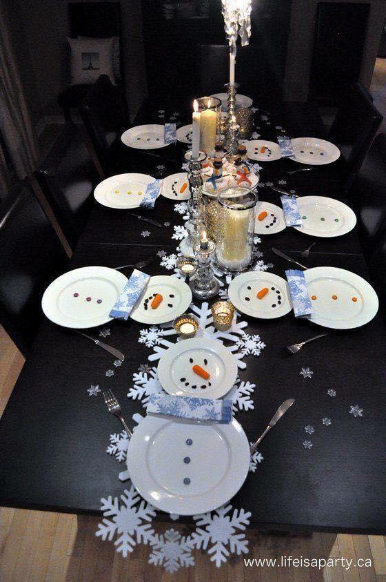 Snowman theme Christmas table decoration idea.