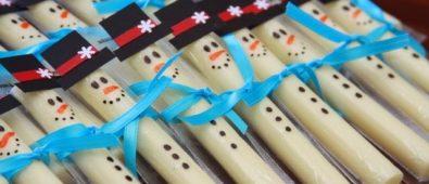 Snowmen cheese sticks.