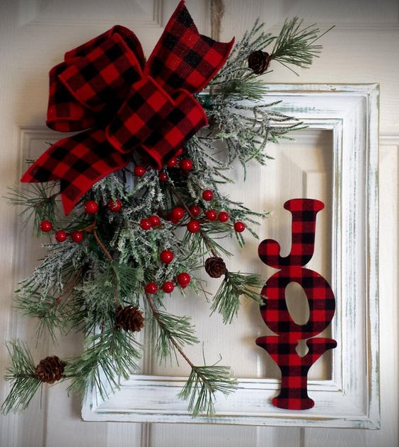 Stunning idea to turn wooden frame turned into shabby chic by joy sign and plaid ribbon.
