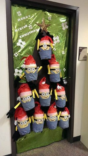 Swanky merry minion Christmas door of classroom.