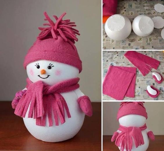 Sweet snowman with crochet hat and scarf.