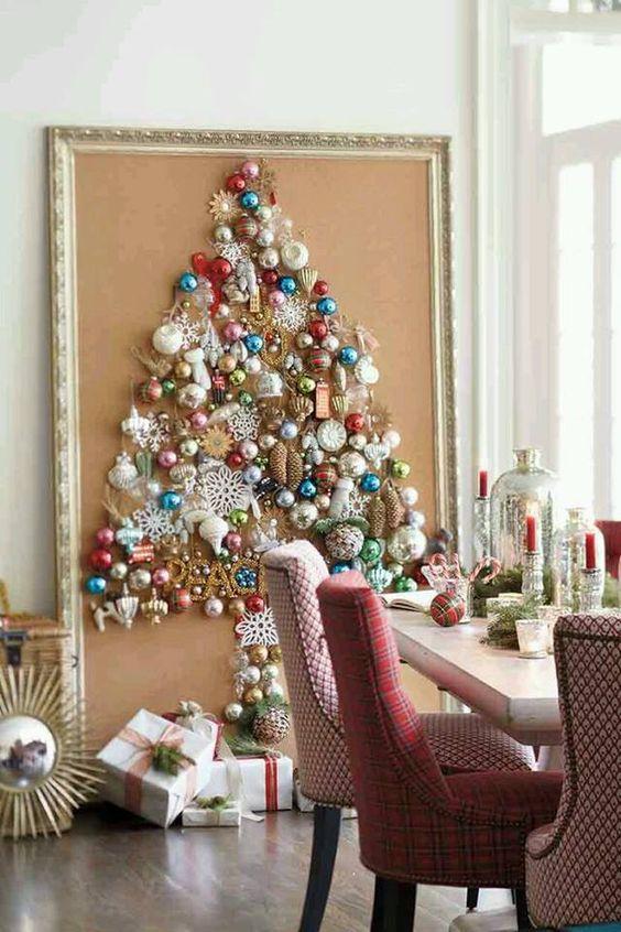 Vintage ornament on wall as Christmas tree.