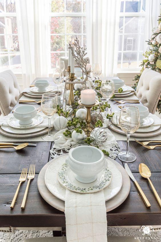 White theme Christmas decor with some fresh element.