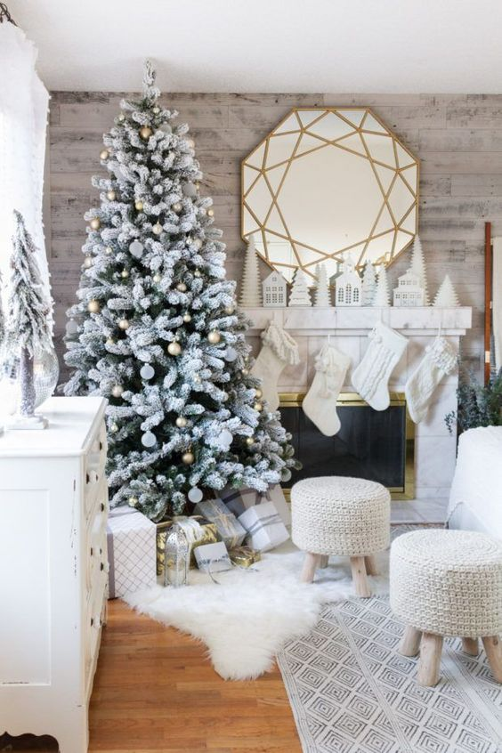 White theme Christmas home decoration with creative mirror.