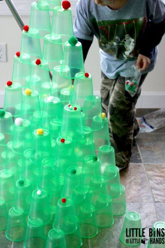 Awesome Christmas cup tower challenge.