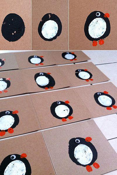 Awesome potato print penguin card.