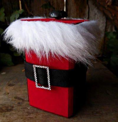 Charismatic fuzzy buckled Santa gift box.