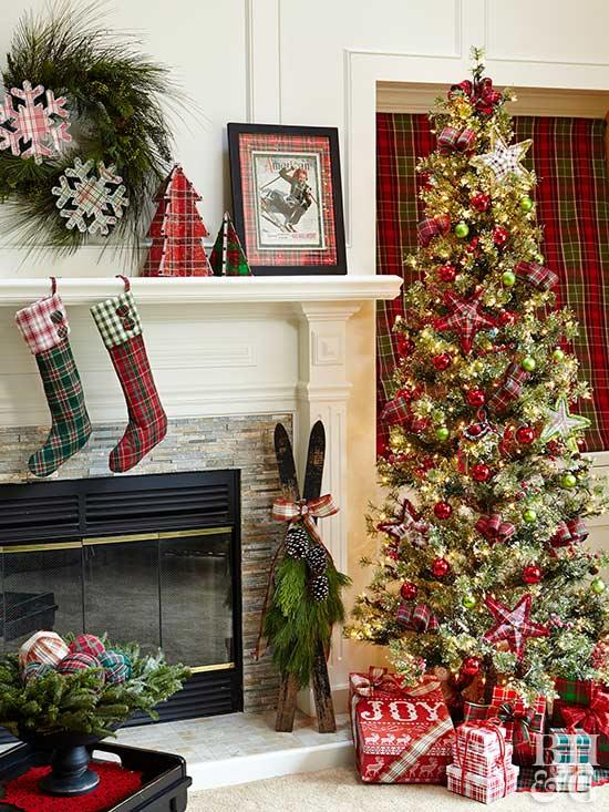 Classic plaid theme Christmas home decor idea.