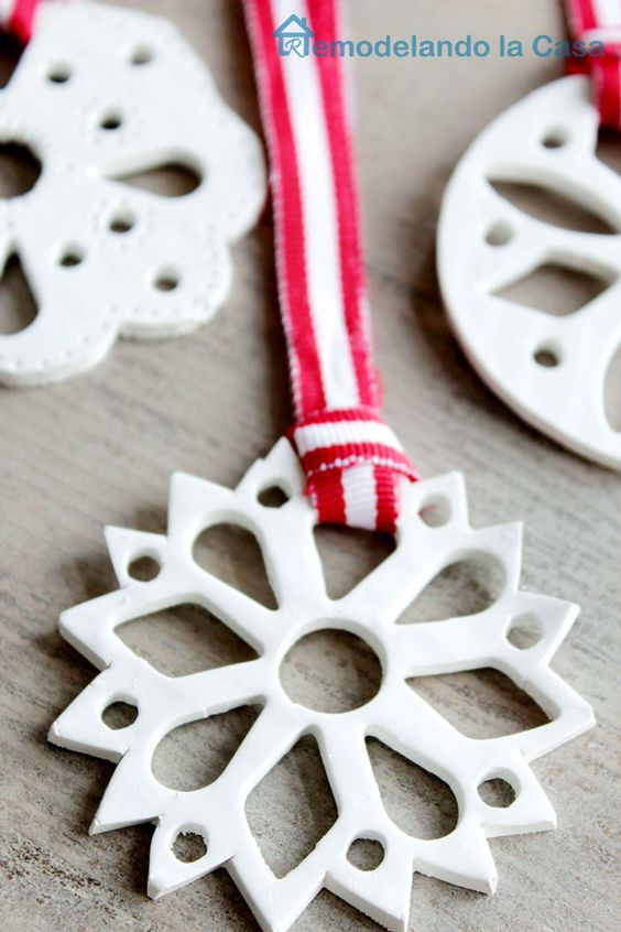 Clay snowflake Christmas tree ornament.