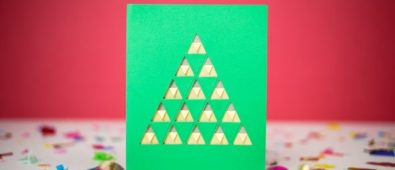 Cut out triangles Christmas tree card.