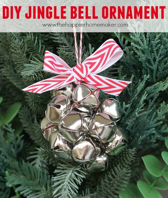 Cute jingle bell ornament with red & white ribbon.