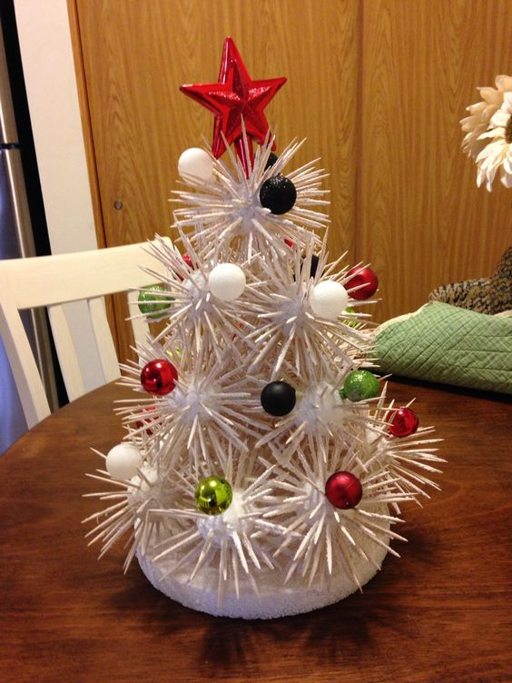 DIY toothpick Christmas tree as centerpiece.