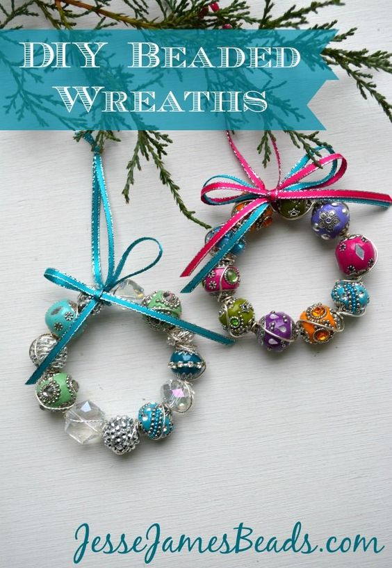 Dashing beaded wreath Christmas ornaments.