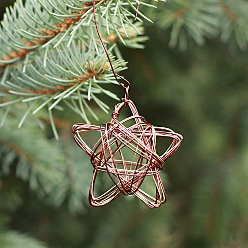 Exclusive wire star Christmas tree ornament.