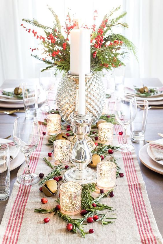 Exquisite mercury glass Christmas tablescape.