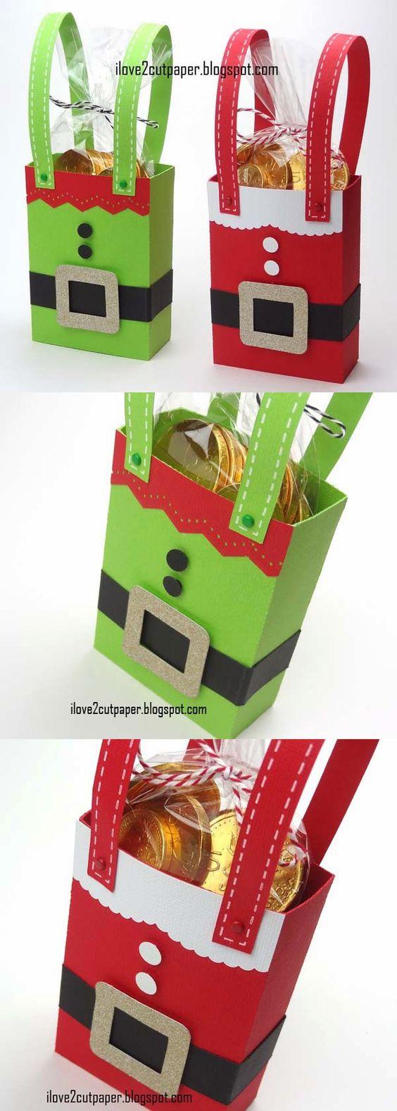 Handmade Santa and Elf gift bags.