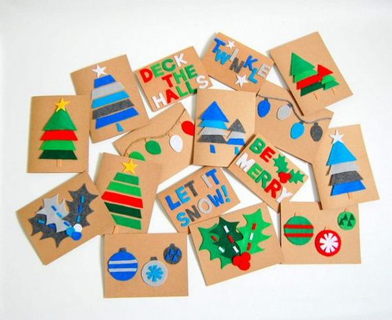 Handmade felt Christmas cards.