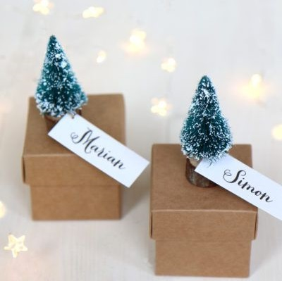 Little personalised Christmas tree boxes.