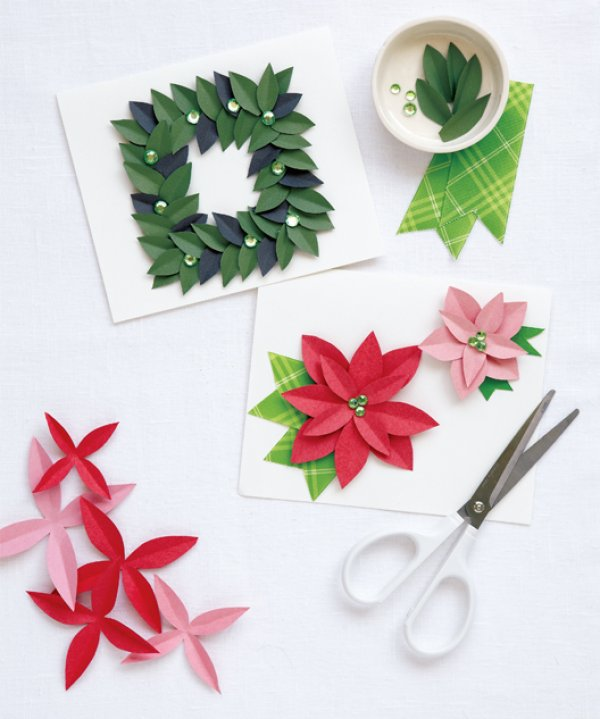 Magnolia wreath or poinsettia display on Christmas cards.