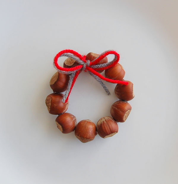 Marvelous hazelnut mini wreath ornaments.