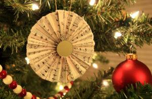 Music sheet fan ornament.