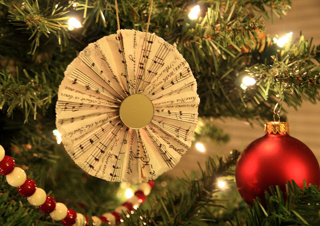 Music sheet fan ornament.