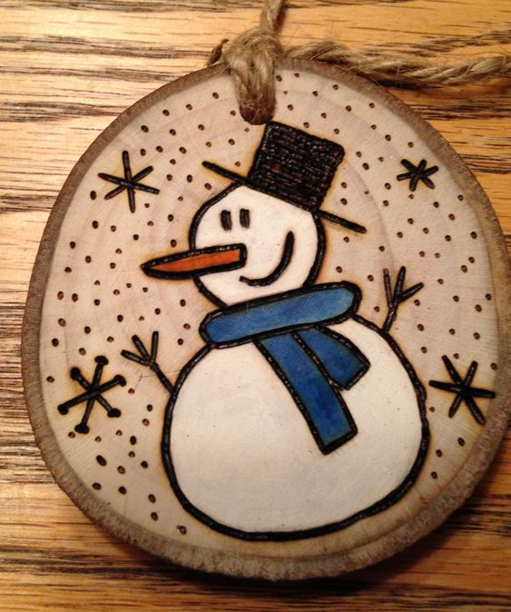 Natural wood snowman ornament.