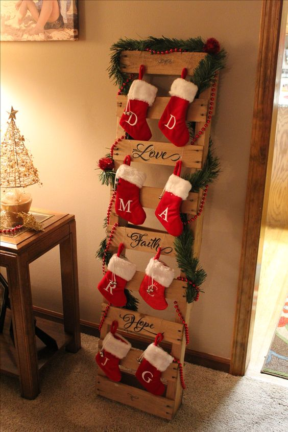 Pallet turned into stocking holder.