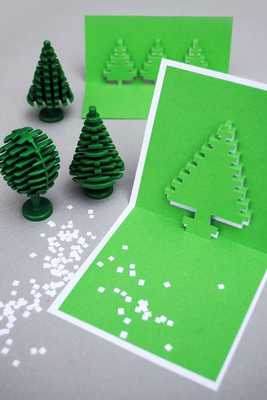 Pixel pop up Christmas tree card.