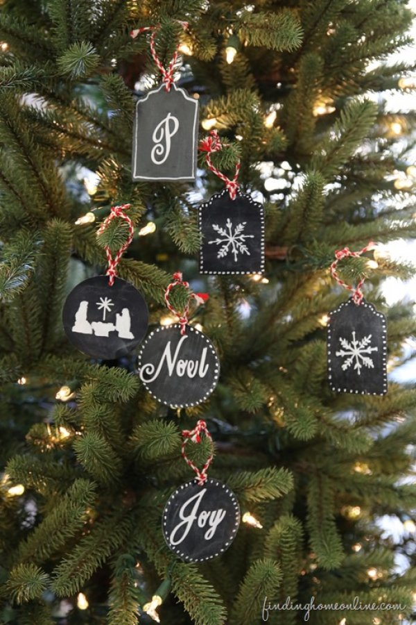 Pretty chalkboard ornaments.