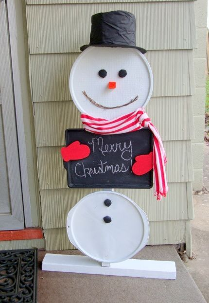 Recycled pizza pans and cookie sheet snowman for home decor at Christmas.