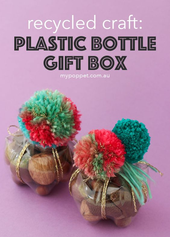 Recycled plastic bottle gift box decorated with pom-pom.