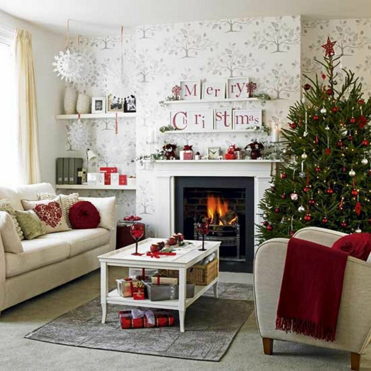 Red & white living room decor idea.
