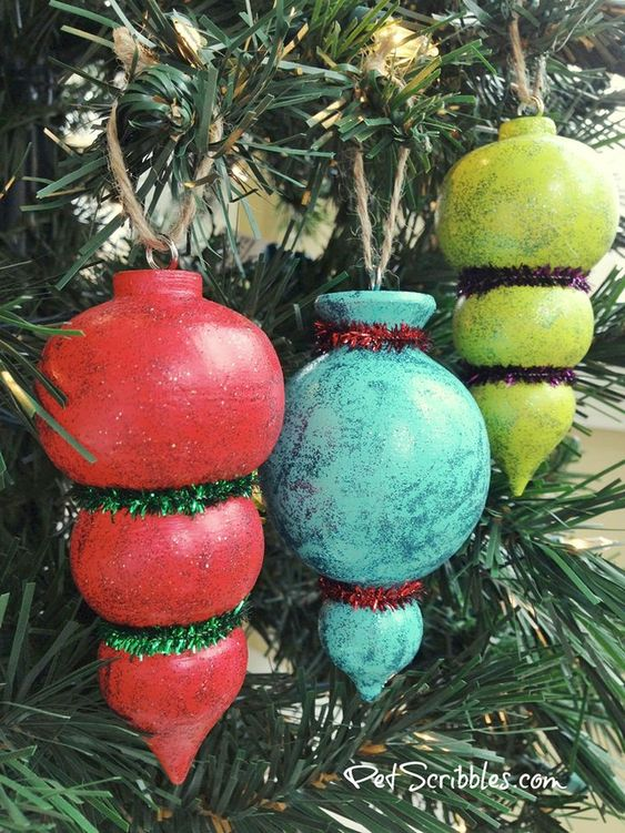 Sparkling painted Christmas tree ornaments.
