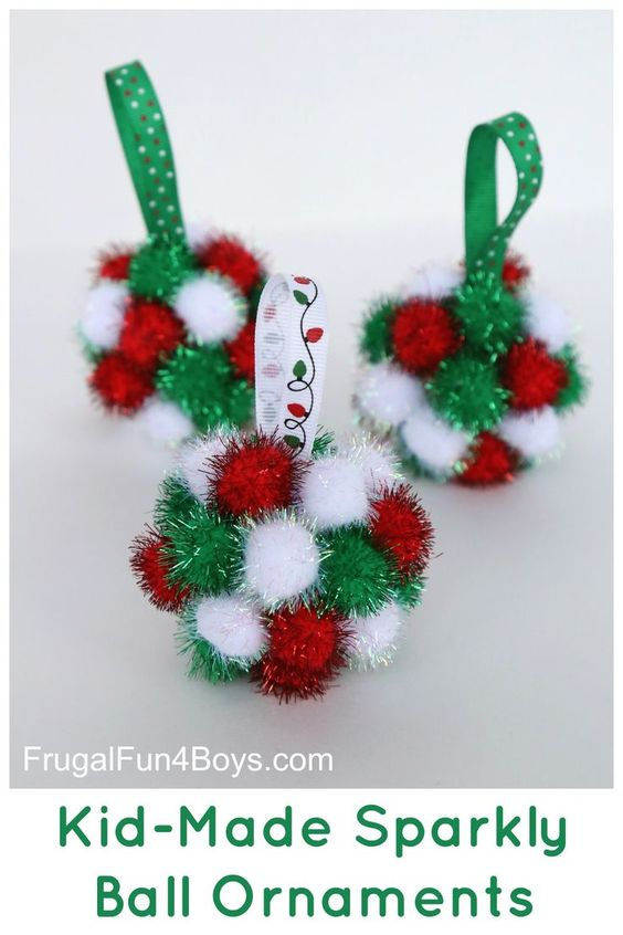 Sparkly pom pm ball Christmas ornaments.